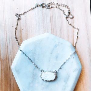 White Druzy Necklace Delicate Oval Pendant Stone